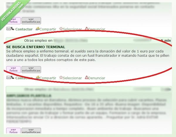 donacion,empleo,enfermo terminal,euro,francotirador,milanuncios,milanuncios.com,wtf