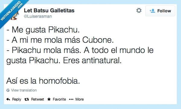 cubone,diferente,gustar,hetero,homo,homofobia,pikachu,pokemon