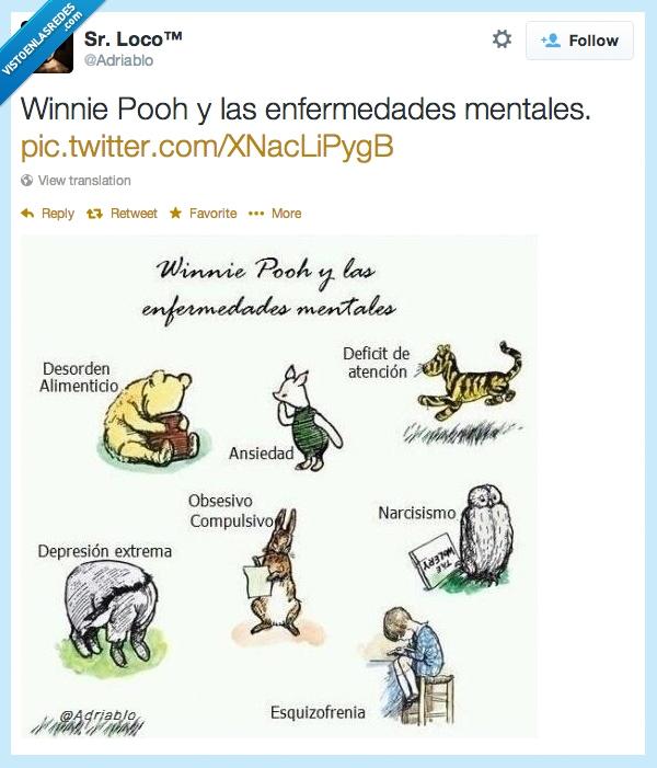 adriablo,ansiedad,depresion,enfermedad mental,enfermedades mentales,esquizofrenia,narcisismo,pooh,sr loco,Winnie Pooh
