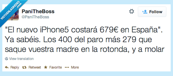 dinero,españa,iphone,madre,molar,pagar,paro,pobre,rotonda