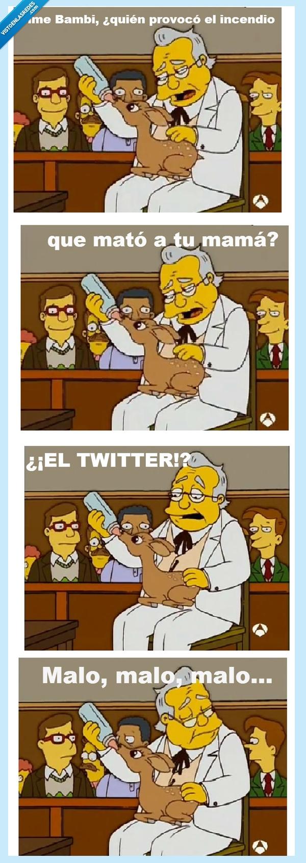 bambi,malo,muerte,simpsons,twitter