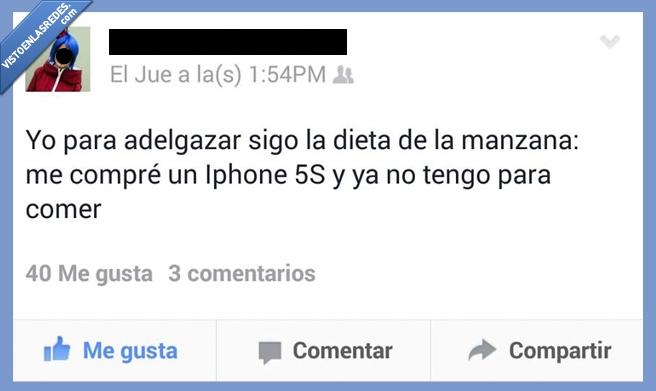 Apple,comer,Dieta,dinero,Estado,Facebook,Iphone,Manzana,pagar,pobre