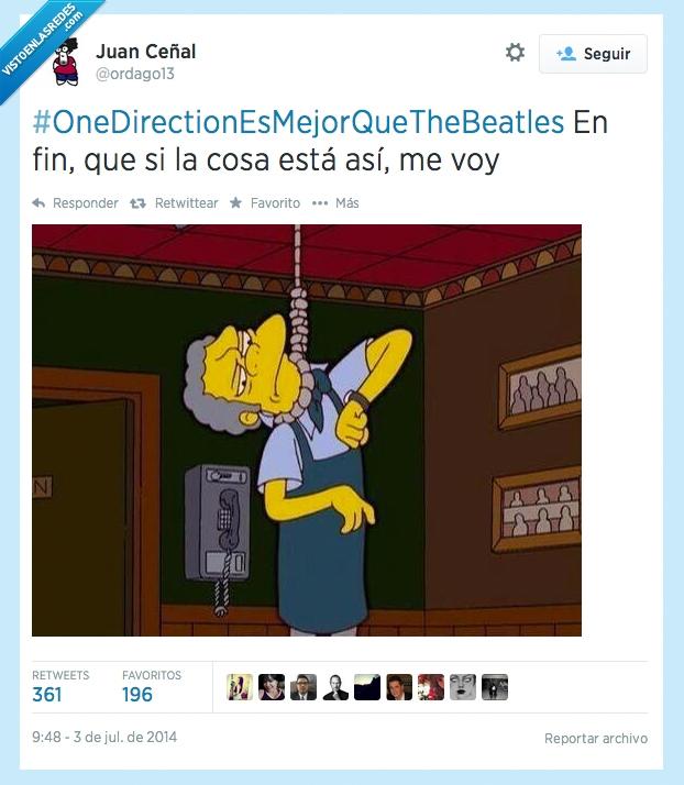 #OneDirectionEsMejorQueTheBeatles,Adolescentes,moe,No saben de música,One Direction,suicidar,suicidio,Twitter