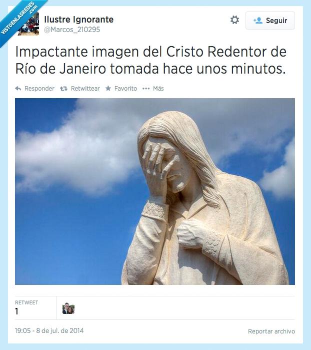 Alemania,Brasil,Cristo,facepalm,Fútbol,Mundial,redentor