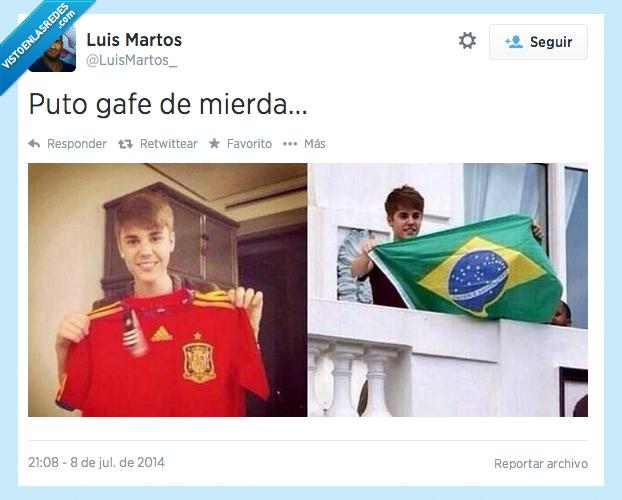 bandera,bieber,brasil,camiseta,españa,gafe,justin,mundial,pierden