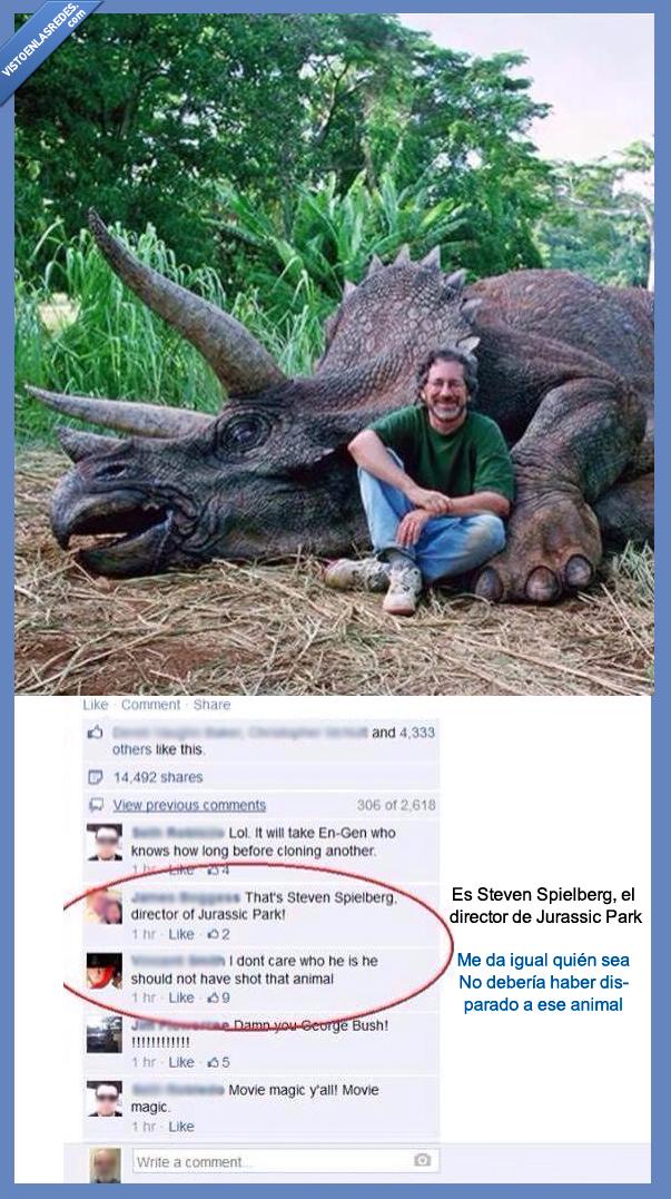 animal,cazadar,cazador,director,jurassic park,matar,steven spielberg,tonta,triceratops