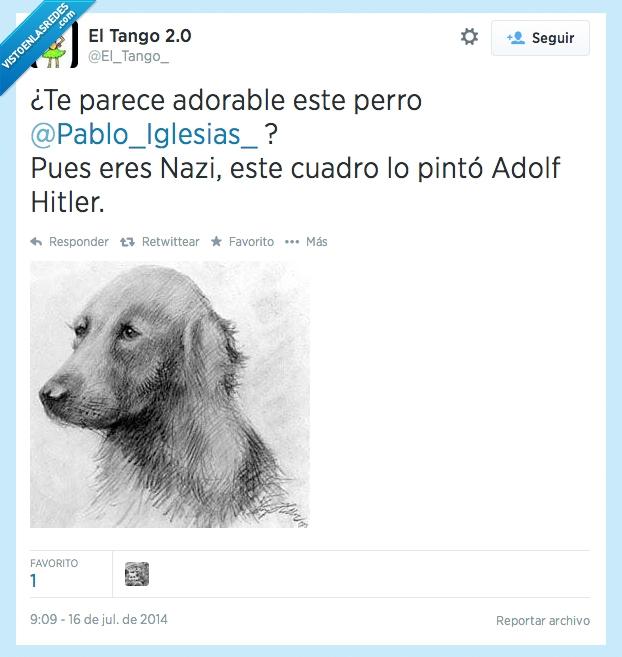 cuadro,dibujo,gustar,Nazis,Pablo Iglesias,perrete,Perro,pintar,pinto
