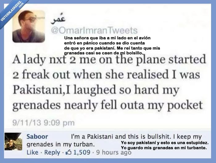 avión,bomba,burla,estereotipos,granada,pakistaní,señora,terrorista,turbante