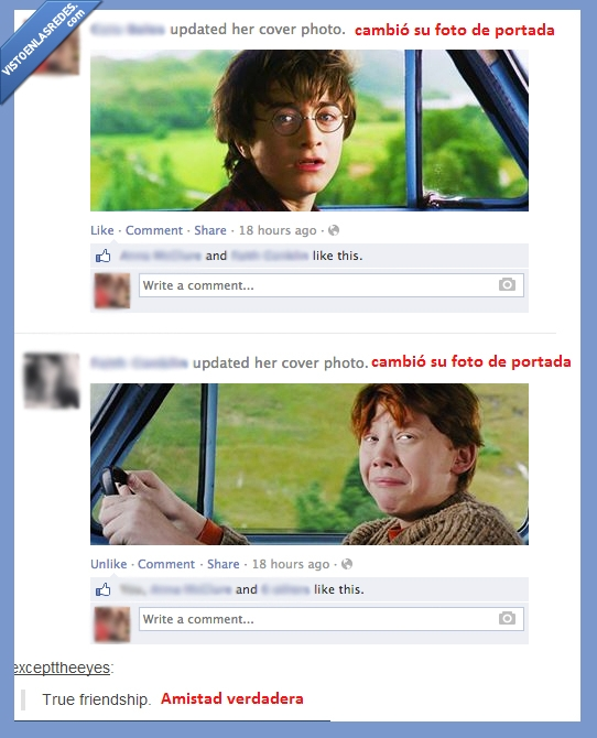 amigos,coche,facebook,harry,portada,potter,ron,tumblr,weasley
