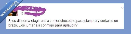 aplaudir,brazo,Chocolate,comer,cortar,juntar,opción,siempre