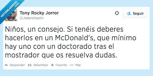 consejo,deberes,doctorado,McDonald's,niños
