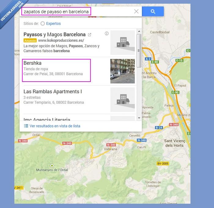 bershka,Google maps,mapa,payaso,ropa,zapatos