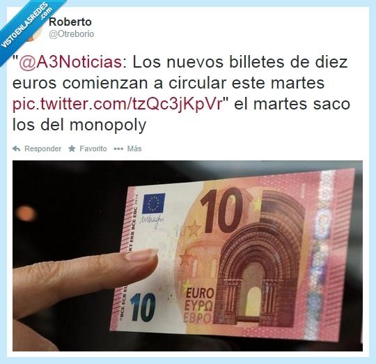 10 diez euros,billetes nuevos,dinero,falsos,monopoly,nuevo viejo,papel,verdadero