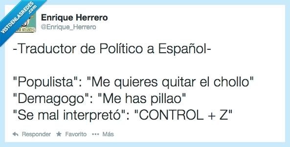 demagogo,eufemismos,malinterpretar,políticos españoles,populista