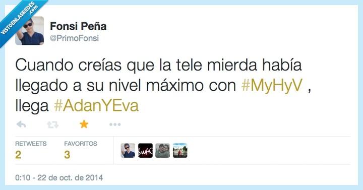 Adán y Eva,España,estupidez,hombres,mujeres,MyHyV,Television,viceversa