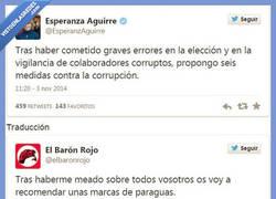 Enlace a Solo hay que usar el traductor de @elbaronrojo para los tweets de @esperanzaguirre