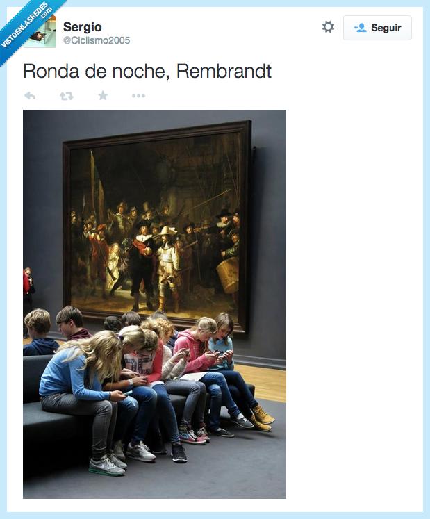 arte,chicos,cuadro,mirar,movil,museo,niños,Rembrandt,ronda de noche,smartphone,triste