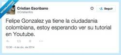 Enlace a Hola amigos de Youtube soy Felipe Gonsales por @CristianKrs