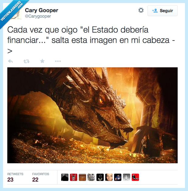 cada,deberia,dinero,dragon,El Hobbit,estado,financiar,imagen,oido,salta,smaug,vez