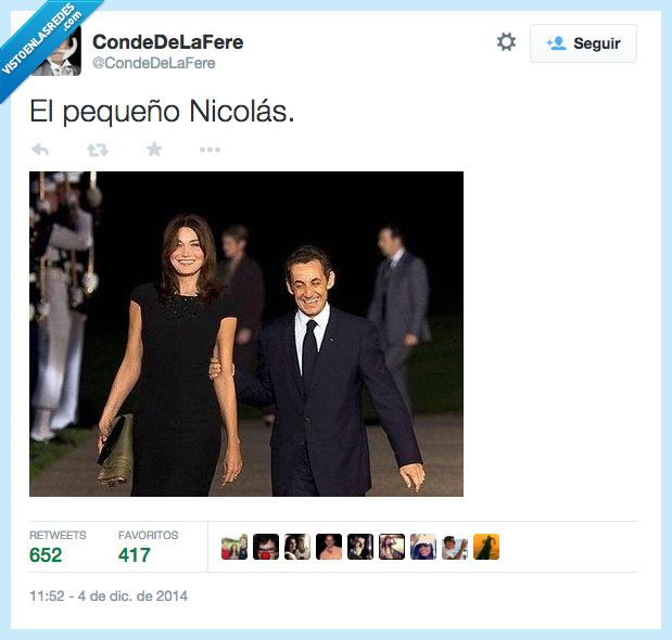 alta,bajito,Carla Bruni,El Pequeño Nicolás,Francia,Nicolas Sarkozy,pareja