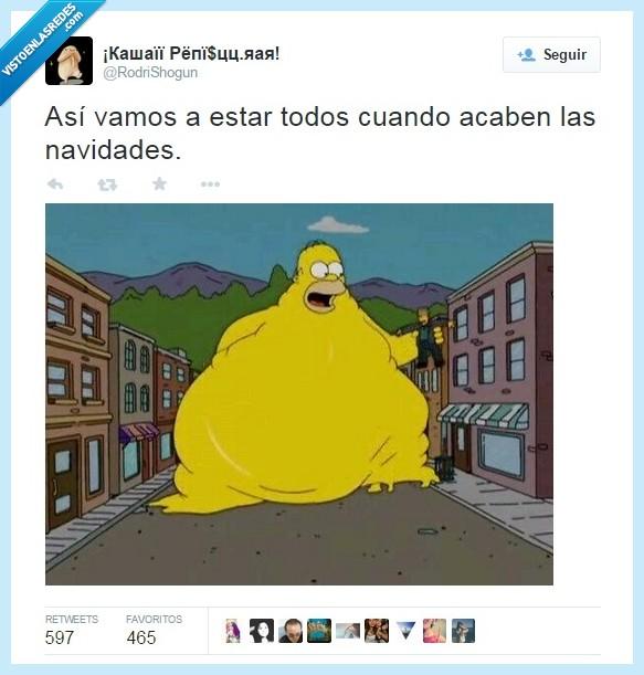 comer,despues,gordo,Homer,Los Simpson,navidad,obesidad,obeso