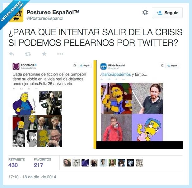 barcenas,gallardon,milhouse,montoro,pablo iglesias,pelea,personaje,Podemos,pp,simpson