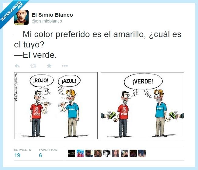 azul,color,dinero,ElSimioBlanco,partido popular,pp,preferido,psoe,rojo,verde