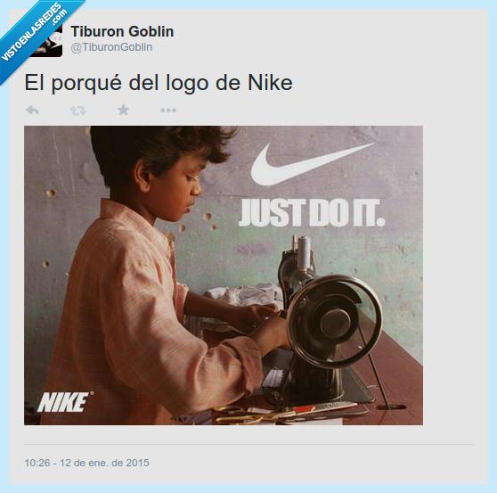 coser,deporte,deportiva,esclavo,explotación,lema,logo,marca,nike,niños,twitter