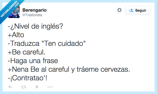 be careful,carrefour,cerveza,frase,ingles,nivel,ten cuidado