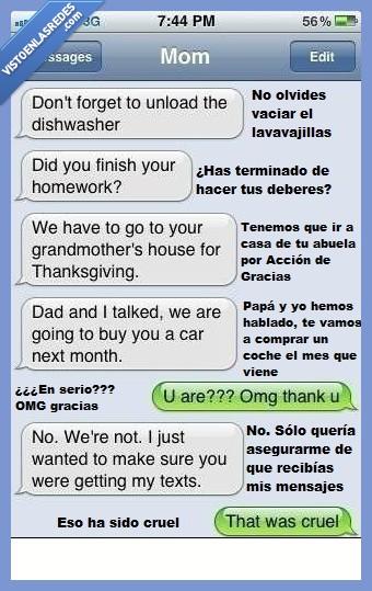 coche,conversación,hijo,madre,órdenes,recados