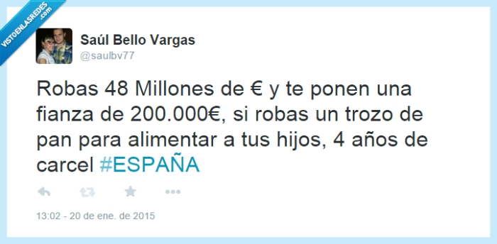 Barcenas,carcel,España,estafa,fianza,justicia para pocos,pan,Robar,vergüenza