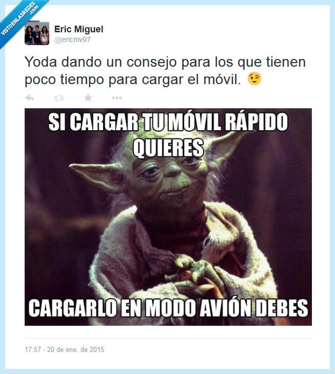 cargar,modo avión,móvil,rápido,Twitter,Yoda