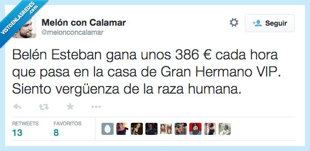 386€,Belen Esteban,gana,ganar,GHVIP,Gran Hermano,hora,humana,raza,vergüenza