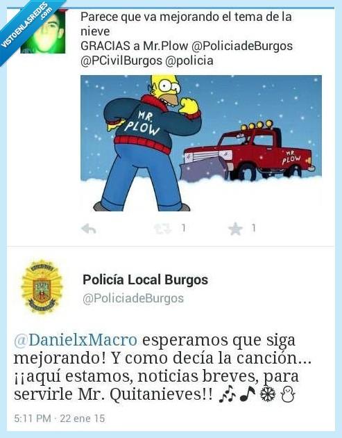 Burgos,cancion,Homer,limpiar,nevada,nieve,policia,Quitanieves,Simpson