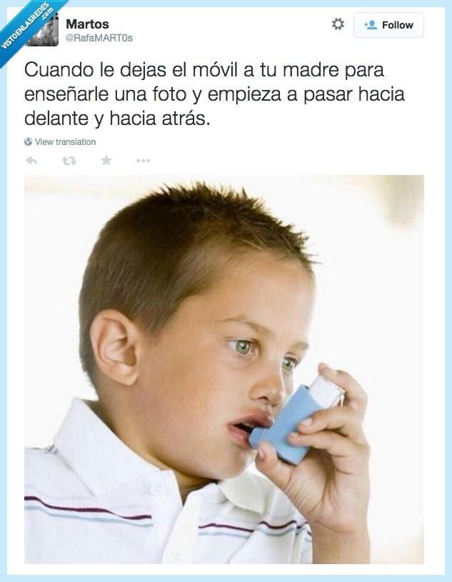 ahogar,asma,ataque de pánico,fotos,madre,miedo,mirar,niño,ventolin