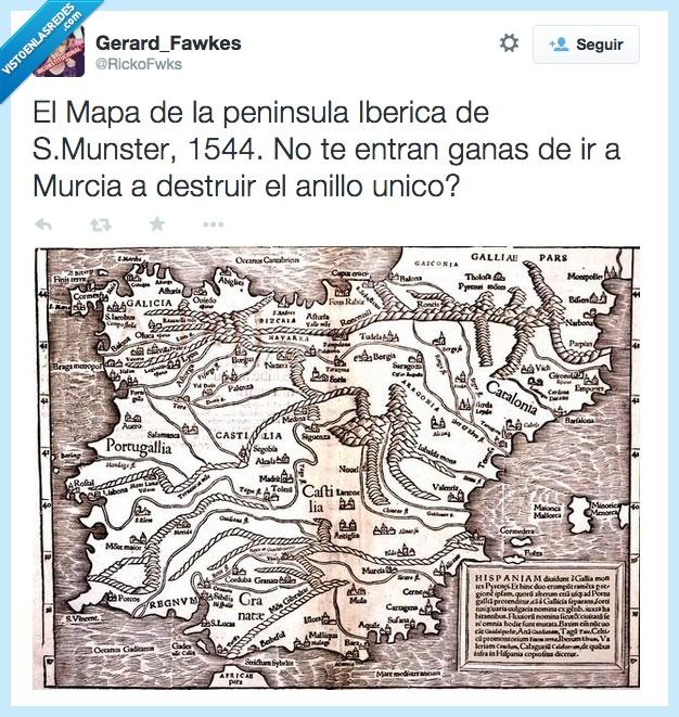 Anillo Unico,destruir,El Hobbit,El Señor de los Anillos,Frodo,mapa,Modor,Murcia,Orcos