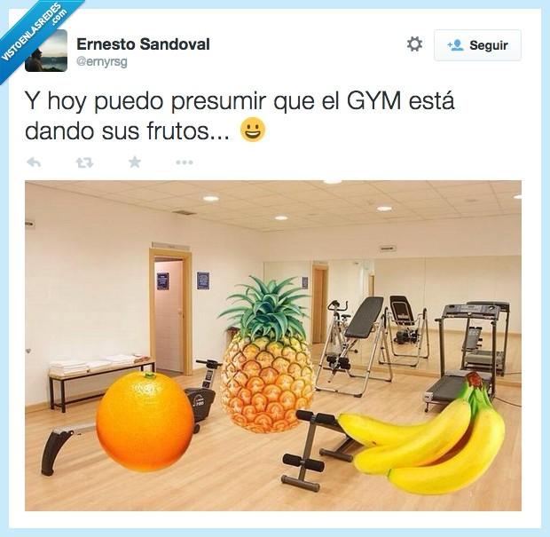 absurdo,dando,frutos,gimnasio,gym,naranja,piña,platano,tontería