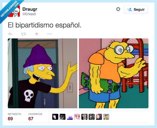 Bart,bipartidismo,españa,español,Hans Topo,Jimbo,joven,juventud,mentira,Sr. Burns,vestido,viejo