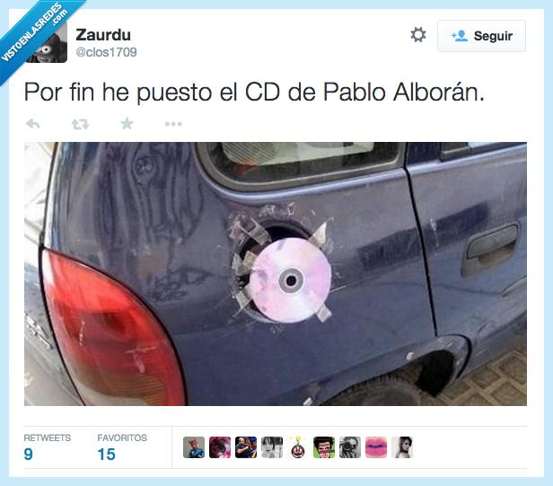 CD,coche,combustible,gasolina,Pablo Alborán,por fin,tapar