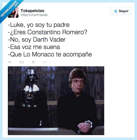 Constantino Romero,Darth Vader,doblaje,eres,Lo Monaco,Luke,padre,ser,sonar,soy,suena,voz