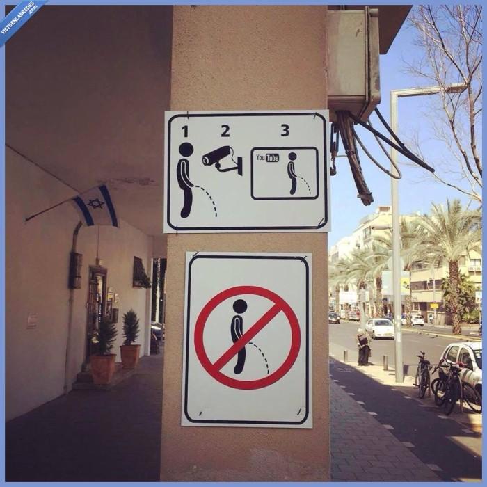 calle,cámara,cartel,grabar,Israel,pillar,pis,prohibicion,prohibido,señal,subir,YouTube