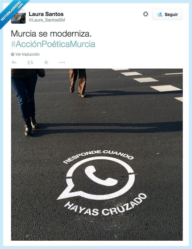 acción,calle,calzada,carretera,consejo,cruzar,graffiti,llamada,mensaje,Murcia,pintada,poetica,responde,responder,smartphone,suelo,whatsapp