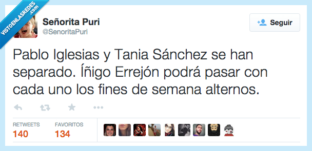 alternos,cada uno,fines de semana,Íñigo Errejón,Pablo Iglesias,pasar,separado,separar,Tania Sánchez