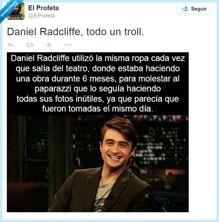 Daniel Radcliffe,fotografo,Harry Potter,JK Rowling,misma,paparazzi,ropa,salida,salir,teatro,Troll