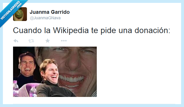 donación,pedir,risa,tom cruise,wikipedia