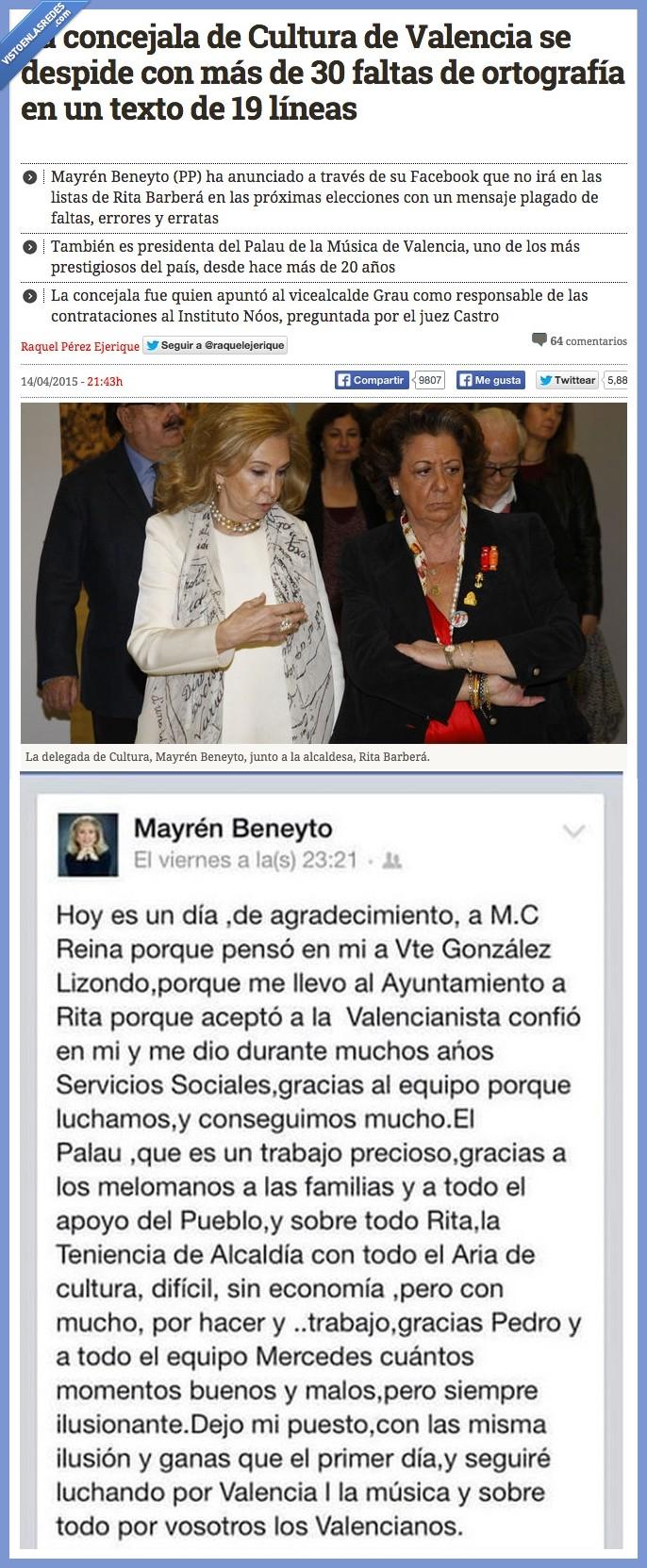 cultura,error,falta,lista,Mayrén Beneyto,me sangran los ojos,ortografía,Rita Barberá,tonta