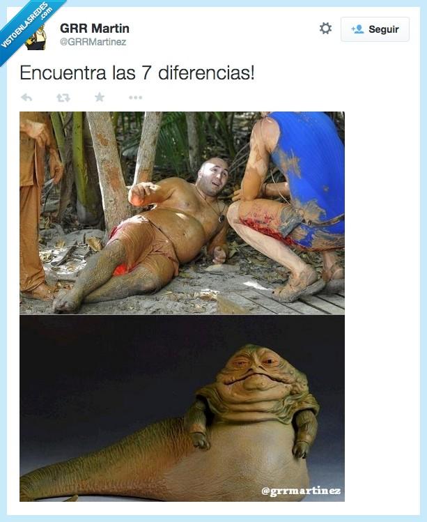 barro,diferencia,igual,Jabba el Hutt,Kiko Rivera,las 7 diferencias,mismo,star wars