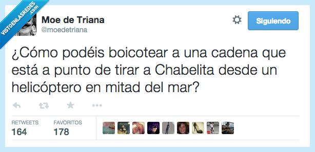boicotear,cadena,Chabelita,helicoptero,mar,medio,mitad,Supervivientes,Telecinco,tirar