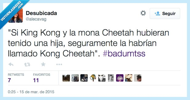 cheetah,Chita,Conchita,hija,hijos,humor,king kong,Kong Cheetah,risas,tarzán,twitter