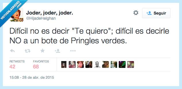 bote,decir,decirle,difícil,es,no,Pringles,ser,te quiero,verde